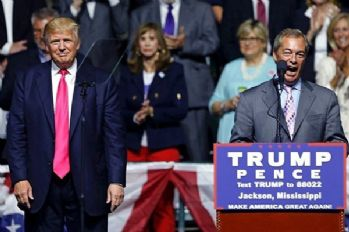 Nigel Farage Trump'ın mitinginde